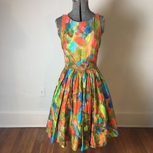 Dresses & Skirts - Vintage 1950s-60s Watercolor Abstract Dress